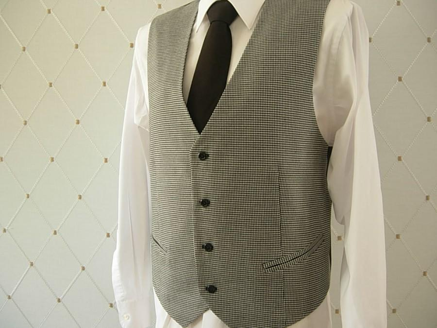 Düğün - Men's Vest, Black and White Houndstooth, Black Vest, Wedding Vest, Groom Vest, Groomsmen Vest, Men's Waistcoat, Men's Suit, Businessman Vest
