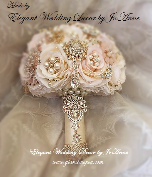 Свадьба - CUSTOM BROOCH BOUQUET, Rose Gold Brooch Bouquet, Deposit Only for this custom pink and Ivory Gold and Rose Gold Brooch Bouquet, Rose Gold