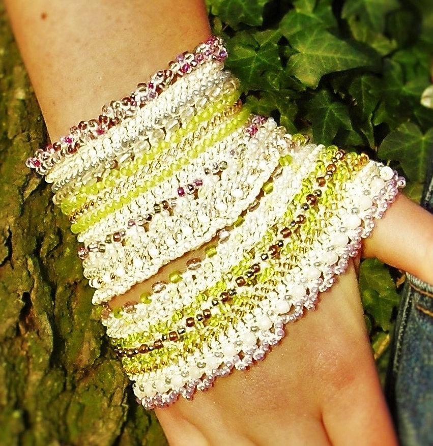 Bridal Crochet Beaded Cuff Bracelet Wedding Wrist Band Statement