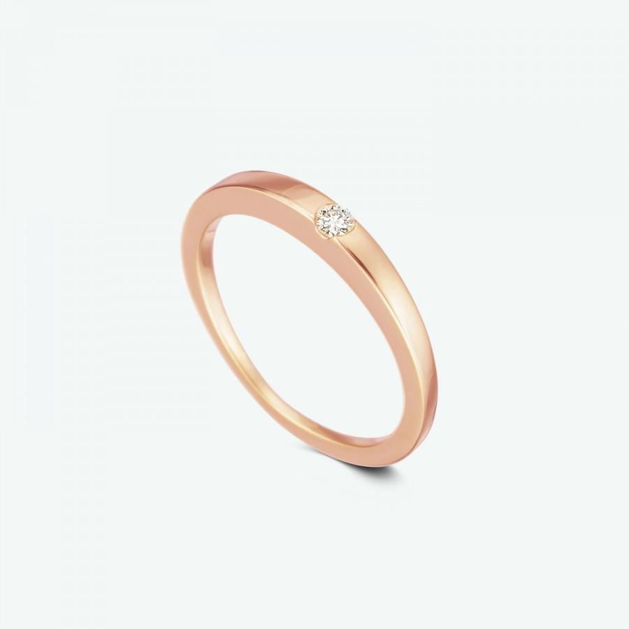 Rose Gold Diamond Ring Simple Wedding Band Engagement