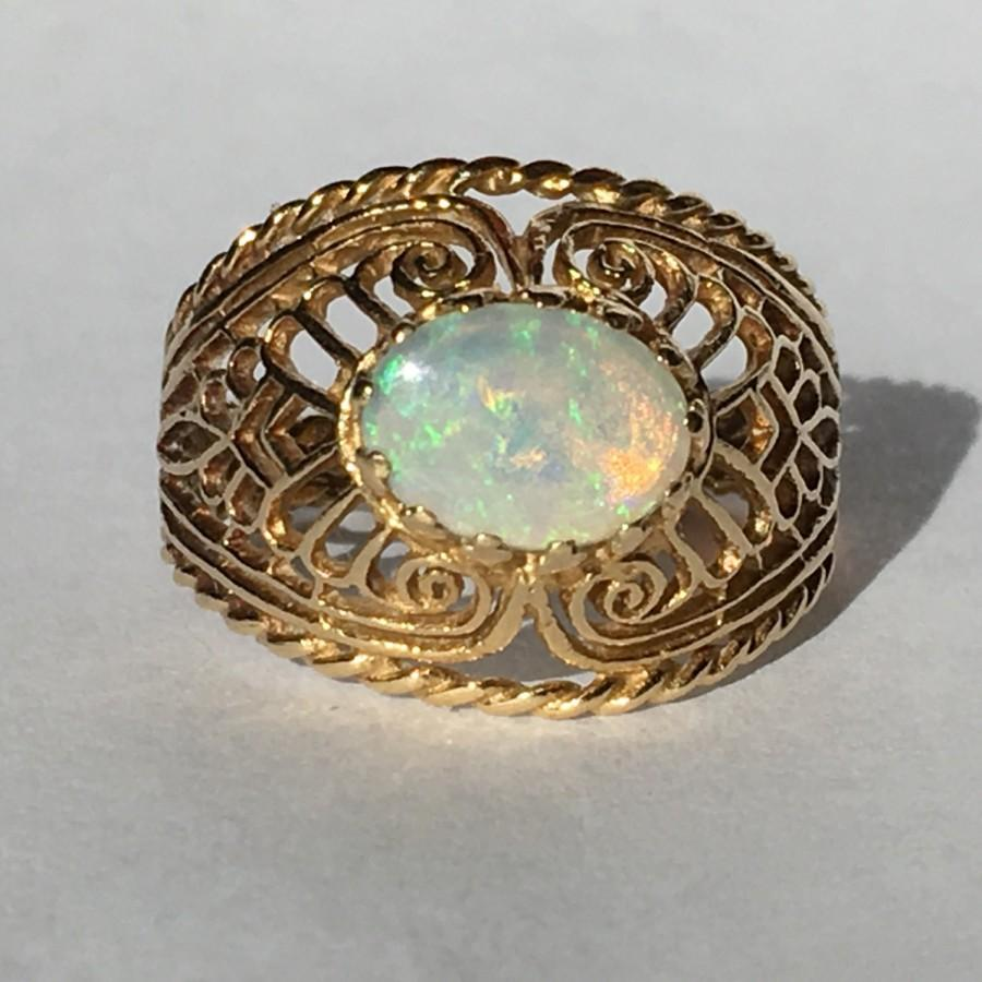 Hochzeit - Vintage Opal Ring. Oval White Opal in 14K Yellow Gold Filigree Setting. Unique Engagement Ring. October Birthstone. 14th Anniversary Gift.