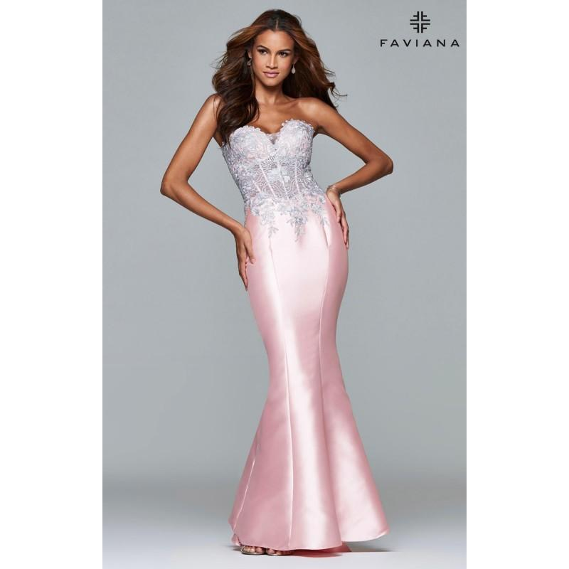 7f1c9e3e7d Silver Faviana S7963 - Fitted Long Corset Back Dress - Customize Your Prom  Dress