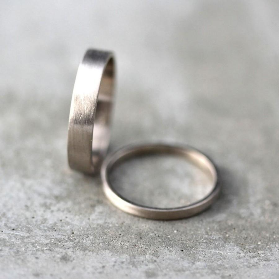 White Gold Wedding Band Set His And Hers 4mm 2mm Brushed Flat 14k Recycled Palladium Ring Made In Your Sizes