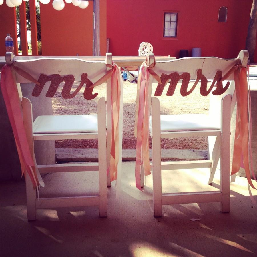 Hochzeit - Mr & Mrs Glitter Chair Signs, Mr and Mrs Signs, Glitter Chair Signs, 28 Glitter Colors, Two Signs or One Long Sign