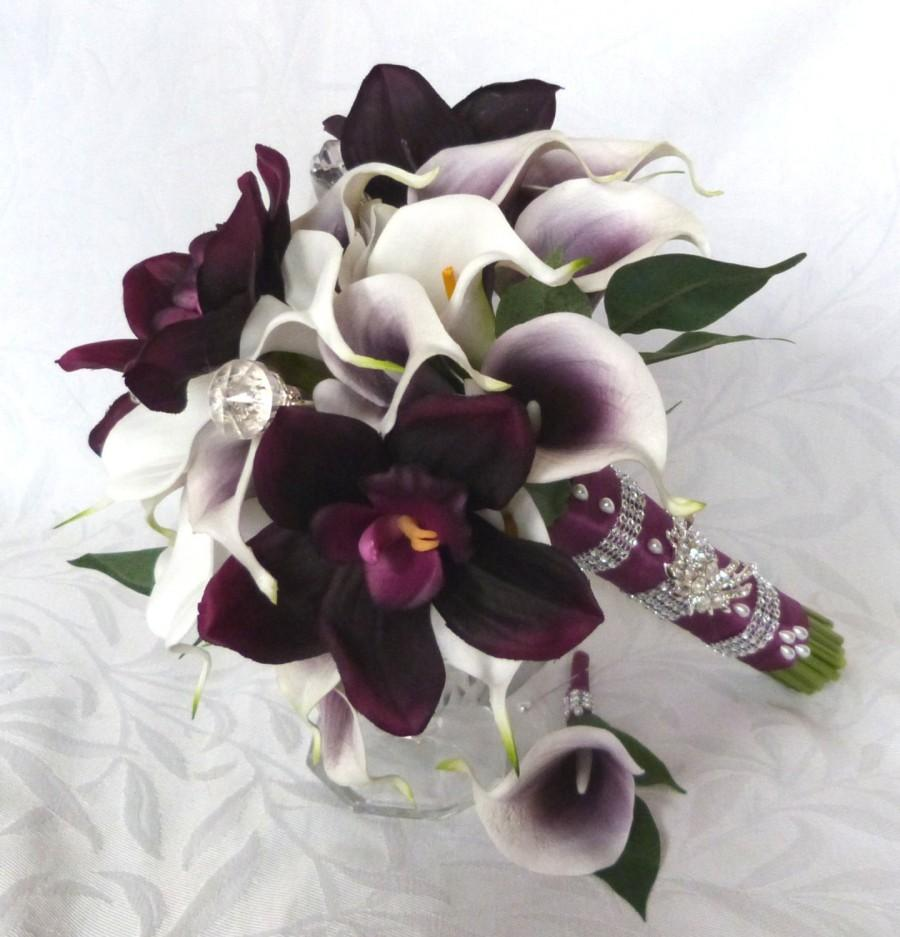 Свадьба - Picasso Real Touch Calla Lily Bridal Bouquet Plum orchid white calla lily and purple heart calla lily set