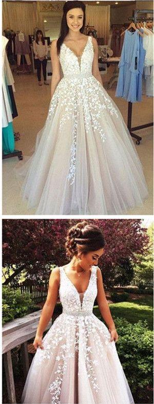Mariage - V Neck Long Sexy Prom Dress,A Line Wedding Dresses N01