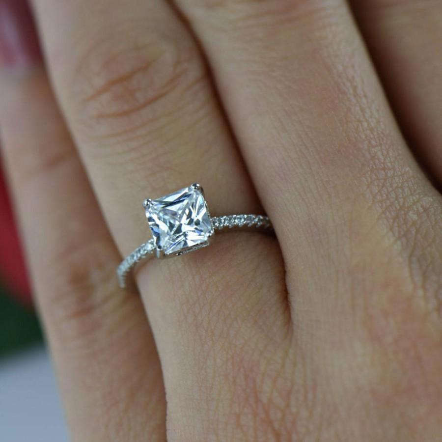 Hochzeit - 1.5 ctw Square Princess Ring, Accented Solitaire Wedding Ring, Bridal Ring, Man Made Diamond Simulants, Engagement Ring, Sterling Silver