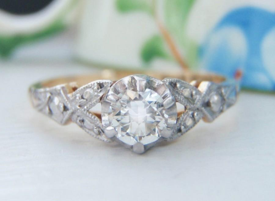 Stunning Vintage Solitaire Diamond Engagement Ring 18k Yellow Gold