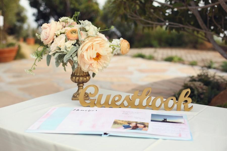 """Wedding - Guestbook Sign for Wedding Freestanding """"Guestbook"""" - Wooden Wedding Sign for Reception Decor (Item - TGU100)"""