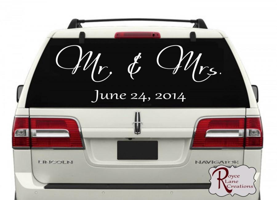 Just Married Car Decal Mr Mrs Personalized Just Married Car - Personalized window decals for cars
