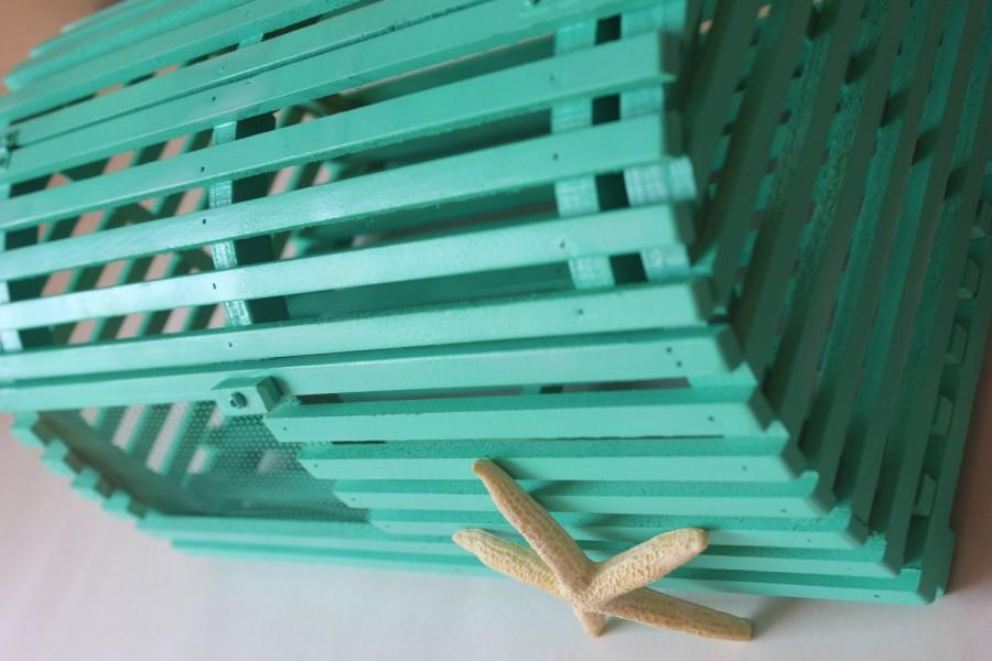 Hochzeit - LOBSTER TRAP CARDBOX Card Box Holder Aqua Blue Centerpiece Decoration Cage Beach Wedding Nautical Starfish Seashells Destination Custom