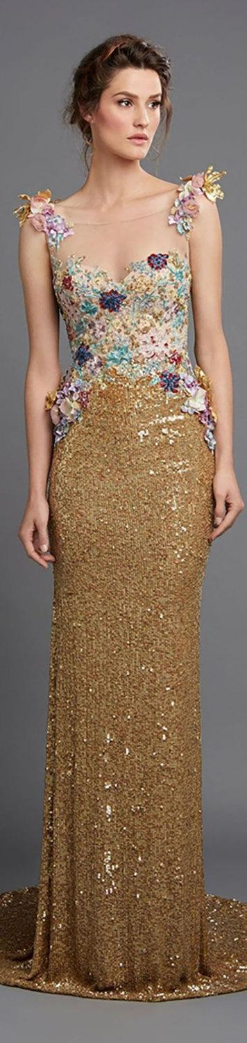 Hochzeit - Gold Dress with Floral Embellishment