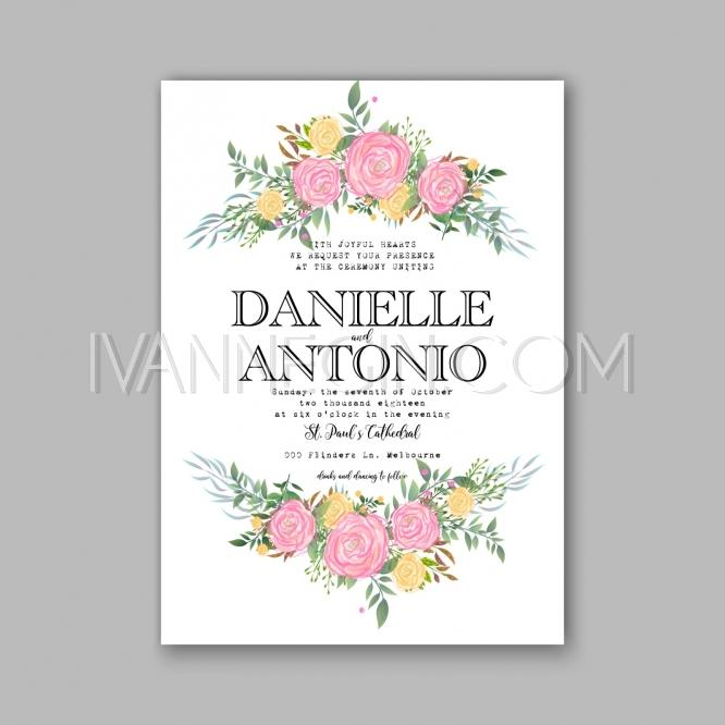 rose wedding invitation printable template with floral wreath or