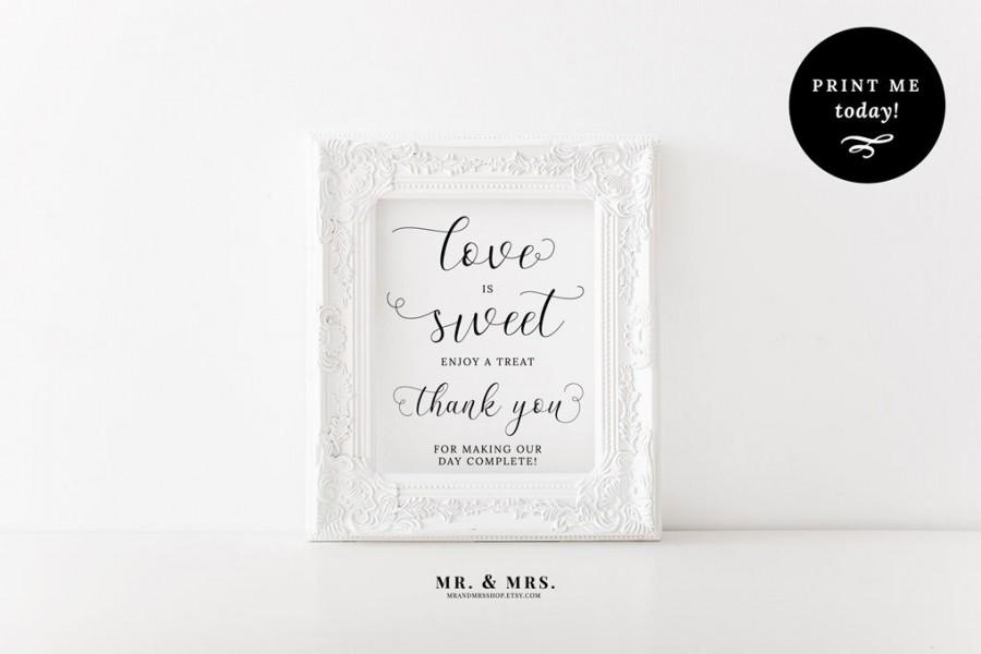 Hochzeit - Love is Sweet Sign, Take a Treat Sign, Dessert Table Sign, Calligraphy, PDF, Wedding Refreshment Sign, Wedding Printable, MAM201_04