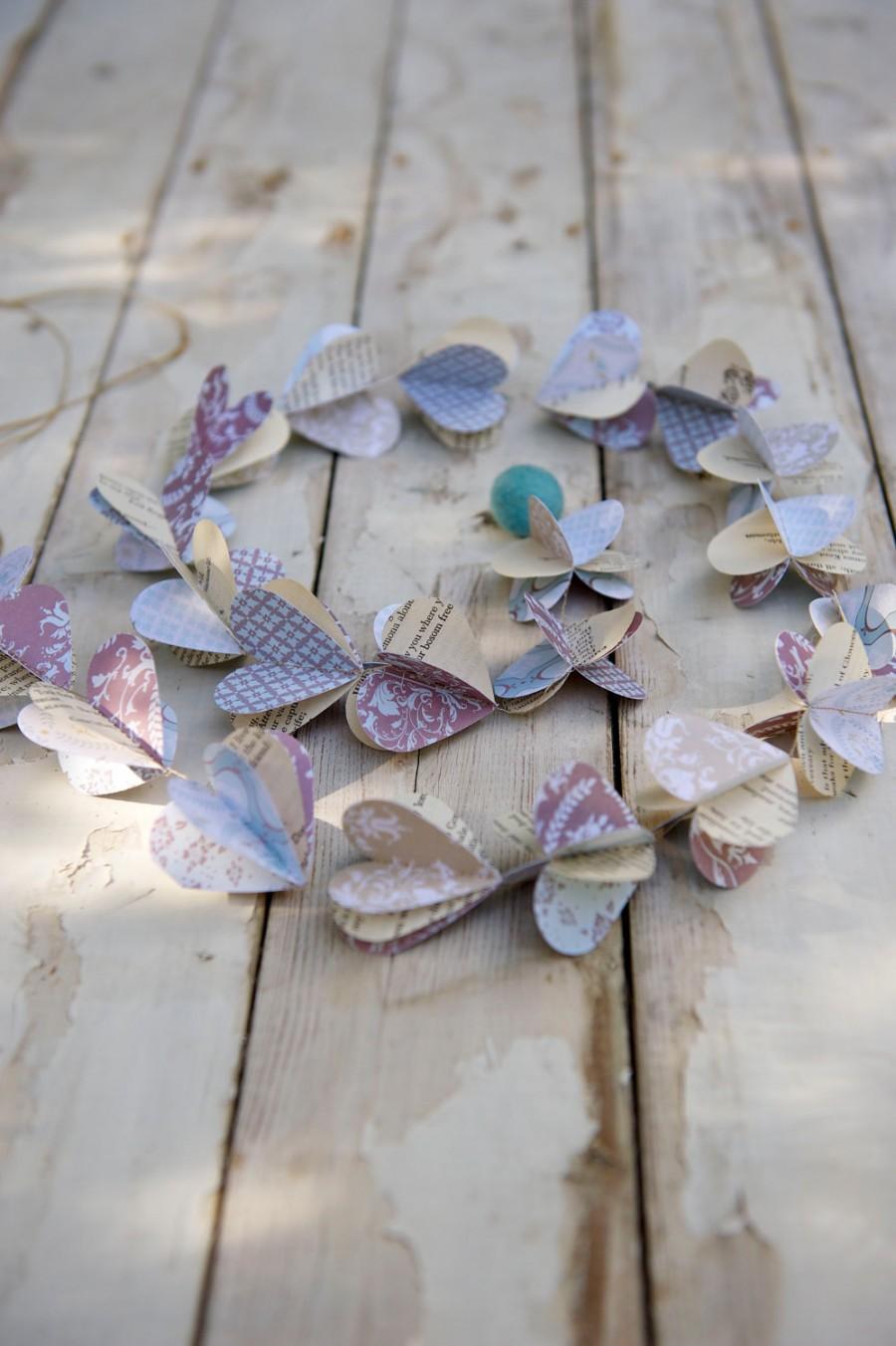 Hochzeit - Winter wedding garland, Winter Wonderland, Winter garland, ice blue, icy blue, dusty blue, rustic wedding, paper garland, heart garland