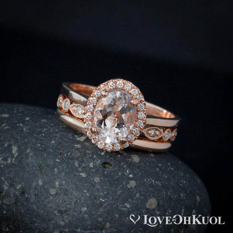 Mariage - Pink Morganite Wedding Ring Set – Vintage Inspired Weddings - 14KT Rose Gold