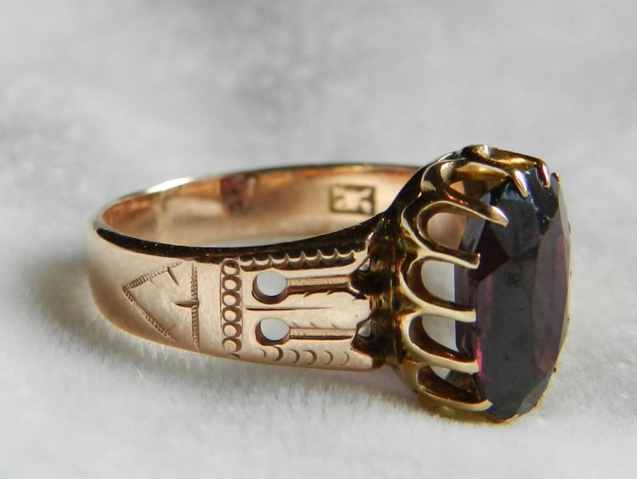 Garnet Ring Rose Gold Garnet Engagement Ring Victorian Ring Gothic