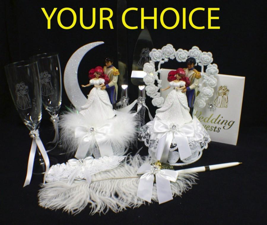 Hochzeit - DISNEY Little Mermaid Princess, Ariel Prince Eric U PICK Wedding Cake Topper Or Glasses Knife Server, Or Book