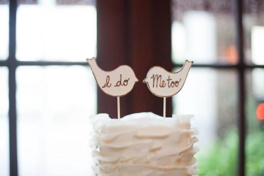 Mariage - Rustic love birds cake toppers, I do Me too, custom, personalized wedding, shabby chic