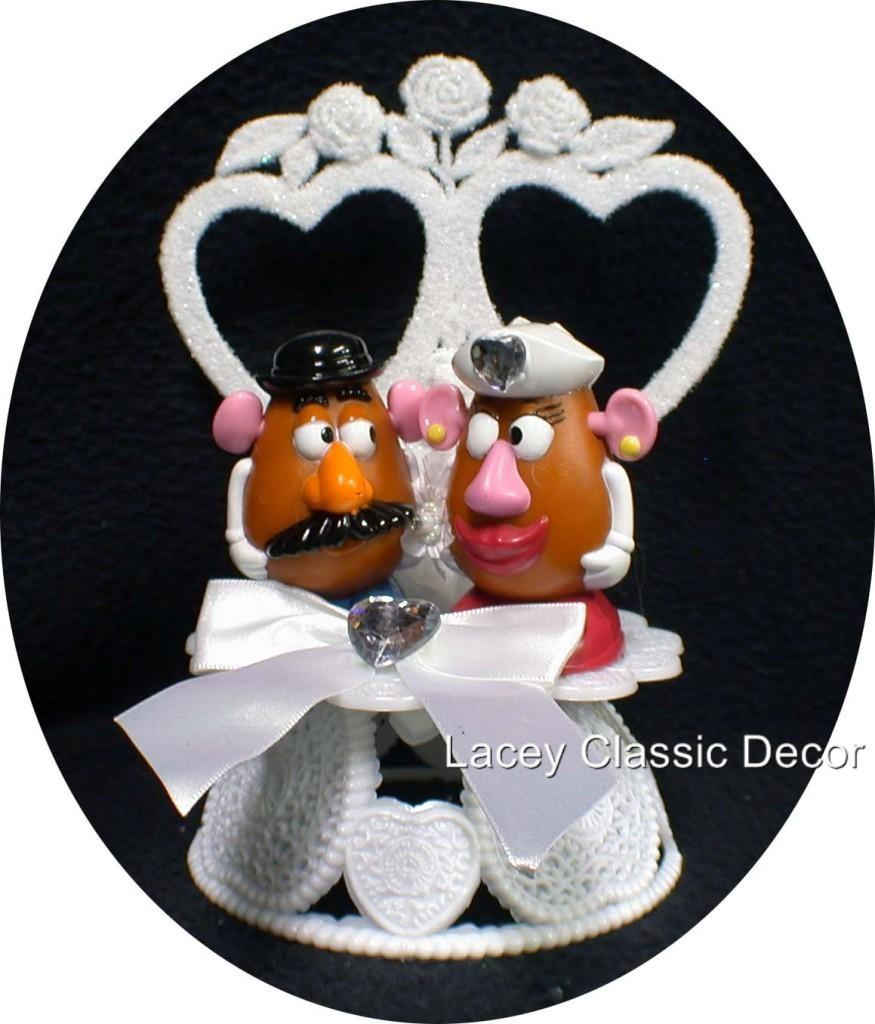 Hochzeit - Mr & Mrs Potato Head Wedding cake topper Top 2 Heart