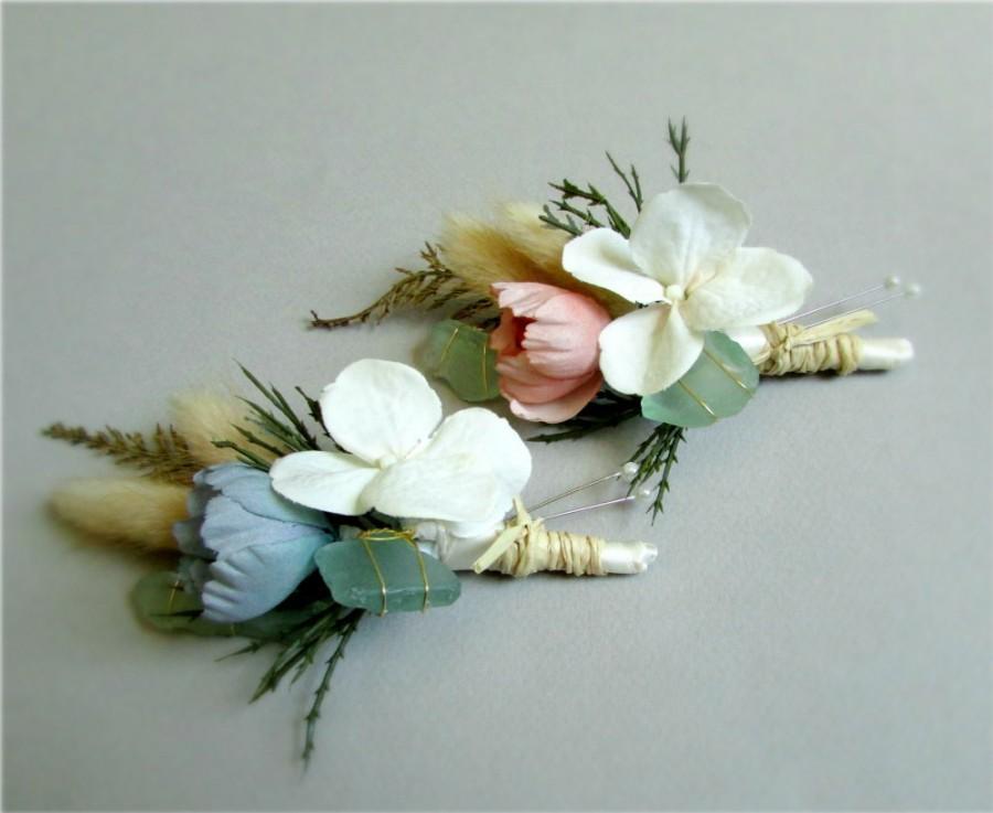 "Свадьба - Set of Pastel Silk, Dried Flower, and Sea Glass Boutonnieres, Ivory, Blush Pink, Blue, Green, Beach Wedding, Coastal, ""Seaside"""