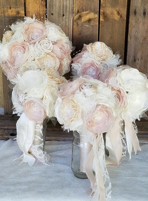 Свадьба - Wedding Brooch Bouquet Package-5 Vintage Bouquets Pink Champagne and Ivory Fabric flower bouquet, alternative fabric bouquets