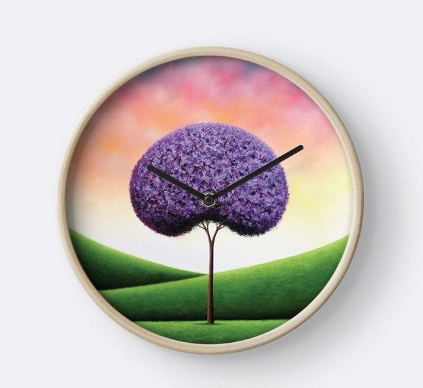 purple office decor desk organizer purple tree wall clock wood framed whimsical art circle colorful office decor modern circular hanging pretty clock