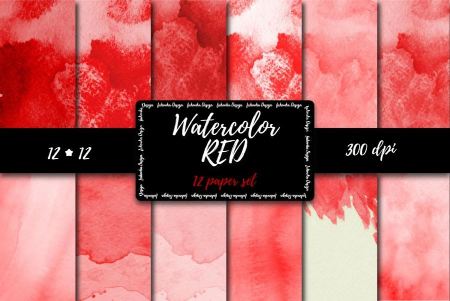 Mariage - Red Watercolor Digital Paper set Red digital paper Red Watercolor scrapbooking paper Red Painted Texture Red Watercolor Background Digital
