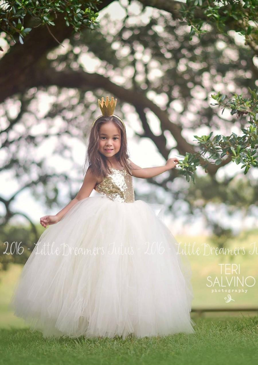 Mariage - NEW! The Juliet Dress in Gold Sequins and Ivory - Flower Girl Dress