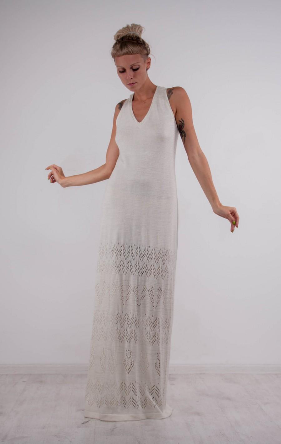 Maxi Crochet Sundress Sleeveless Cocktail Dress Boho Wedding Floor ...