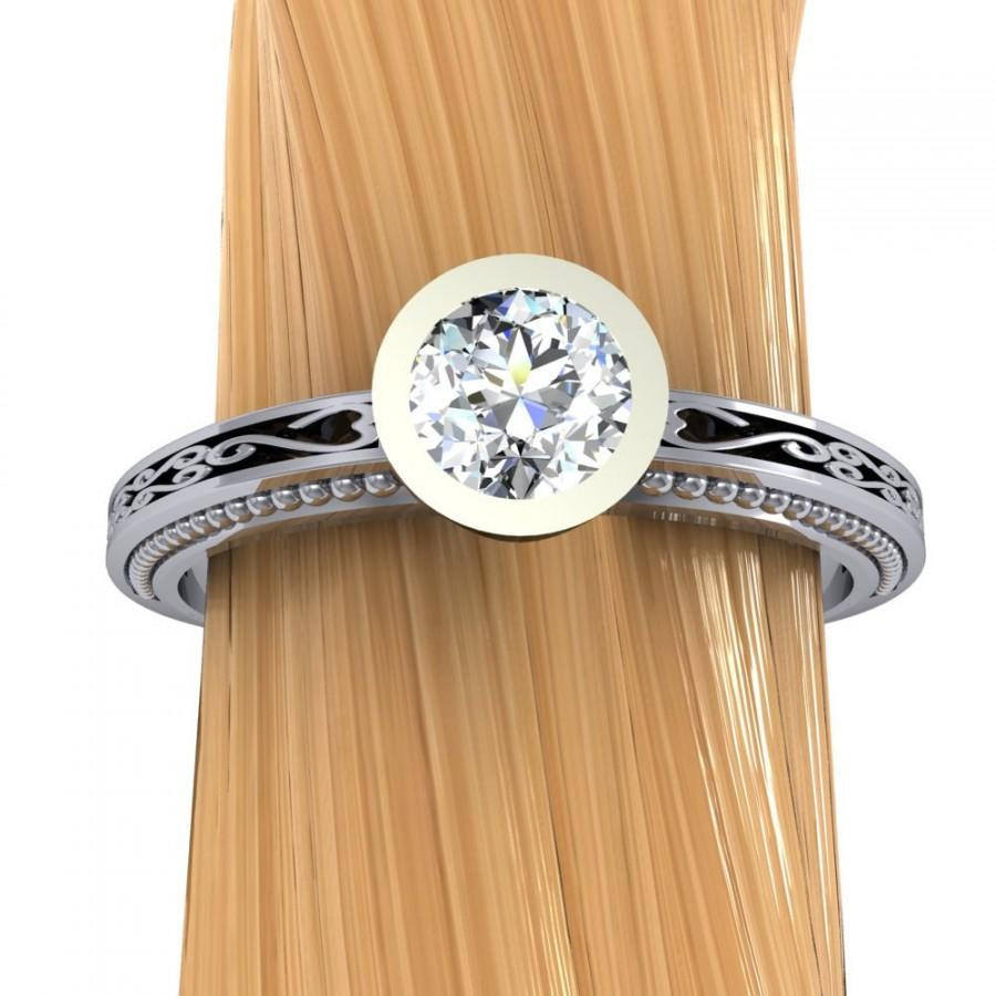 Mariage - Affordable Platinum Diamond Engagement Ring, 1/3 Carat Solitaire, Filigree Band - Free Gift Wrapping