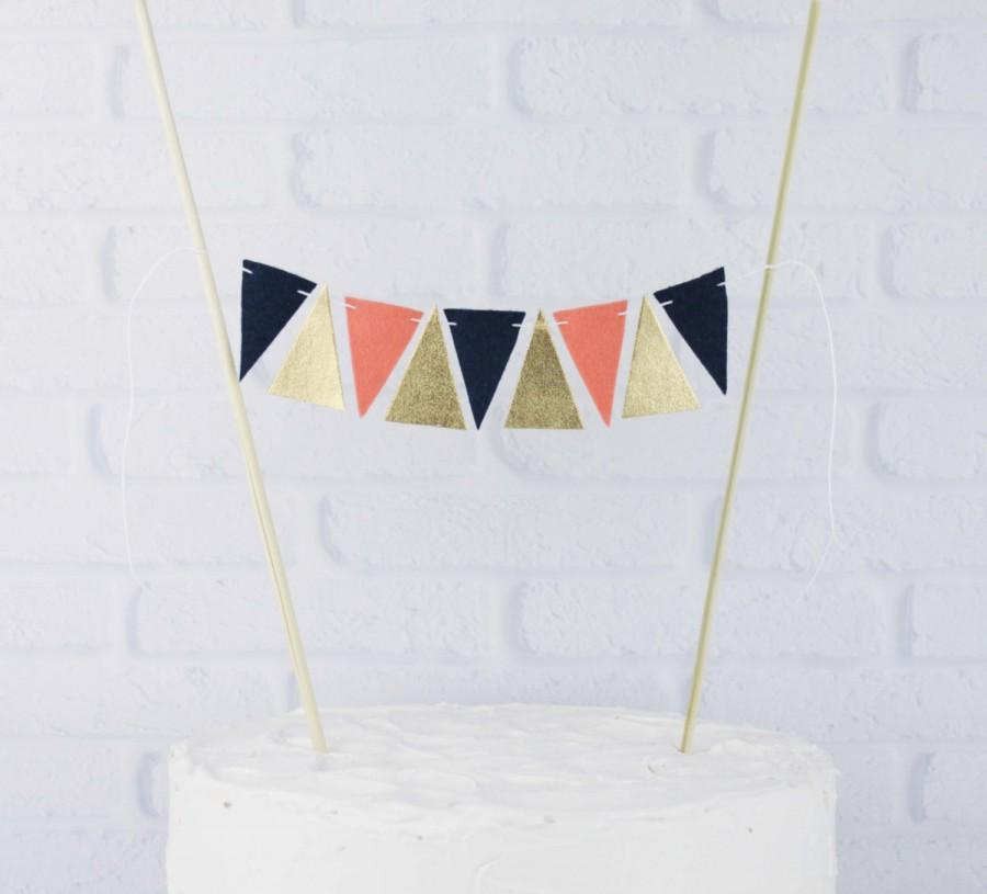 5befff8c0 Coral, Navy Blue, and Gold Tribal Cake Topper, Geometric Gold Cake Banner,  Modern Cake Decoration, Coral and Navy Wedding Centerpiece