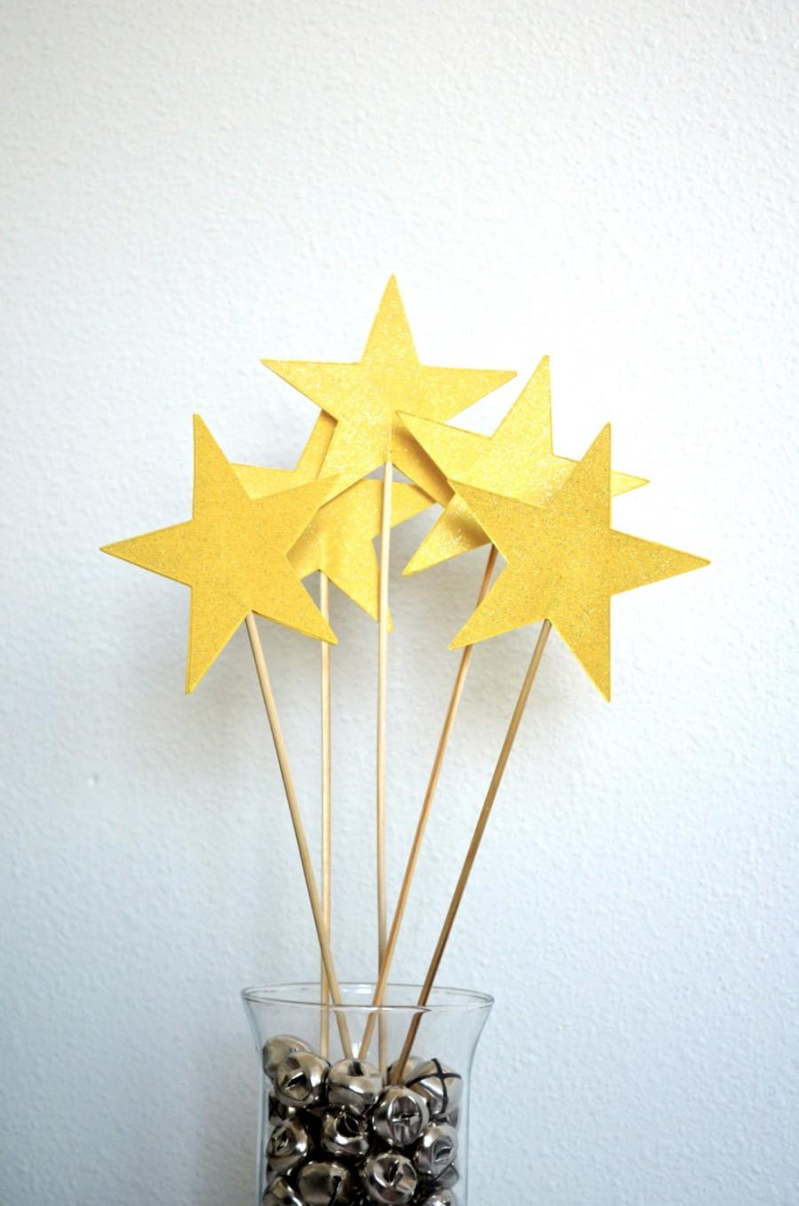 Hochzeit - Extra Large Sparkly Star Wands - custom colors available