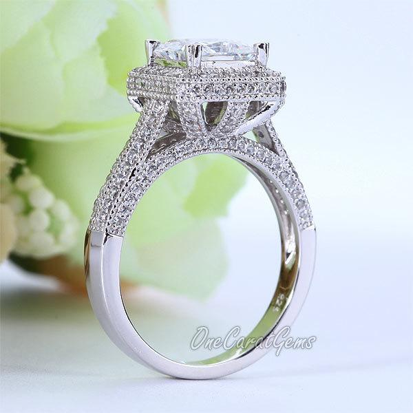 Свадьба - Vintage Style Halo 925 Sterling Silver Ring Wedding Bridal Engagement 1.5 Carat Princess Cut Lab Made Diamond