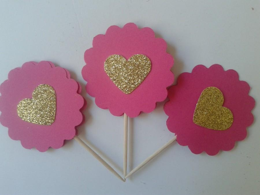 Hochzeit - Deep Pink and Gold Heart Cupcake Toppers, Birthday Toppers, Heart Party Favors,Wedding Toppers, Gold Heart Cupcake Toppers,Theme Party