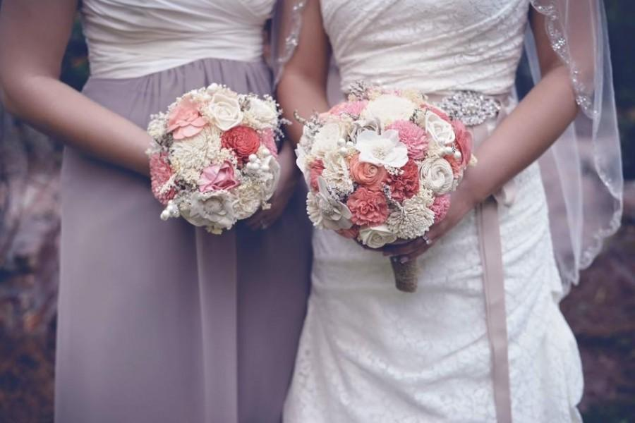 Свадьба - Coral Sola Wedding Bouquet, Gorgeous Alternative Wedding Bouquet, Sola Bouquet