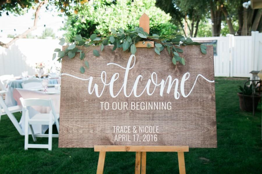 Welcome To Our Beginning, Wedding Welcome Sign, Wooden Welcome Sign ...