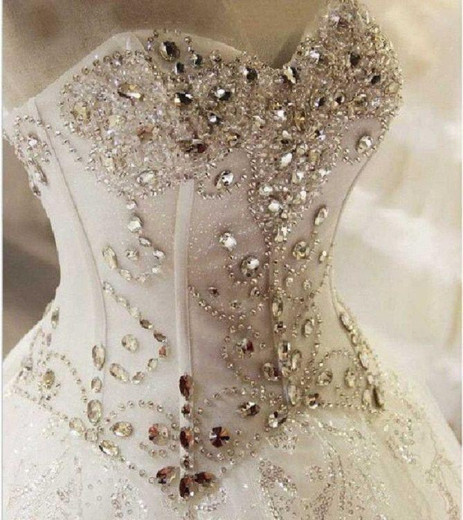 Düğün - Bling Brides Crystal Wedding Dress Ball Dress With Sweetheart Neck And Lace Up Back