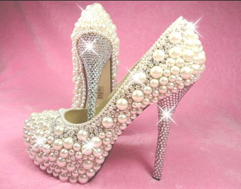 Hochzeit - Pearl High Heel Shoes Amazing Collection