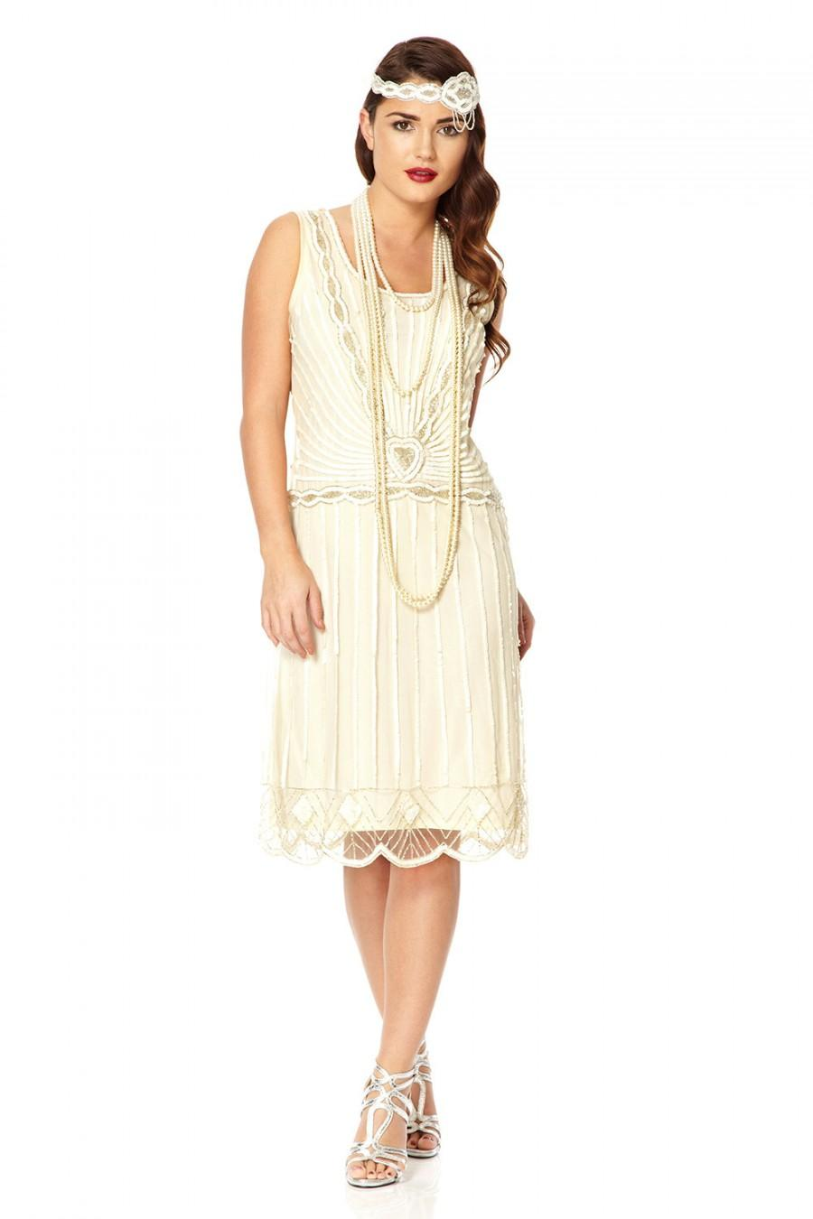 us14 uk18 aus18 eu46 off white charleston 20s inspired flapper great gatsby downton abbey bridal shower rehearsal dinner wedding dress