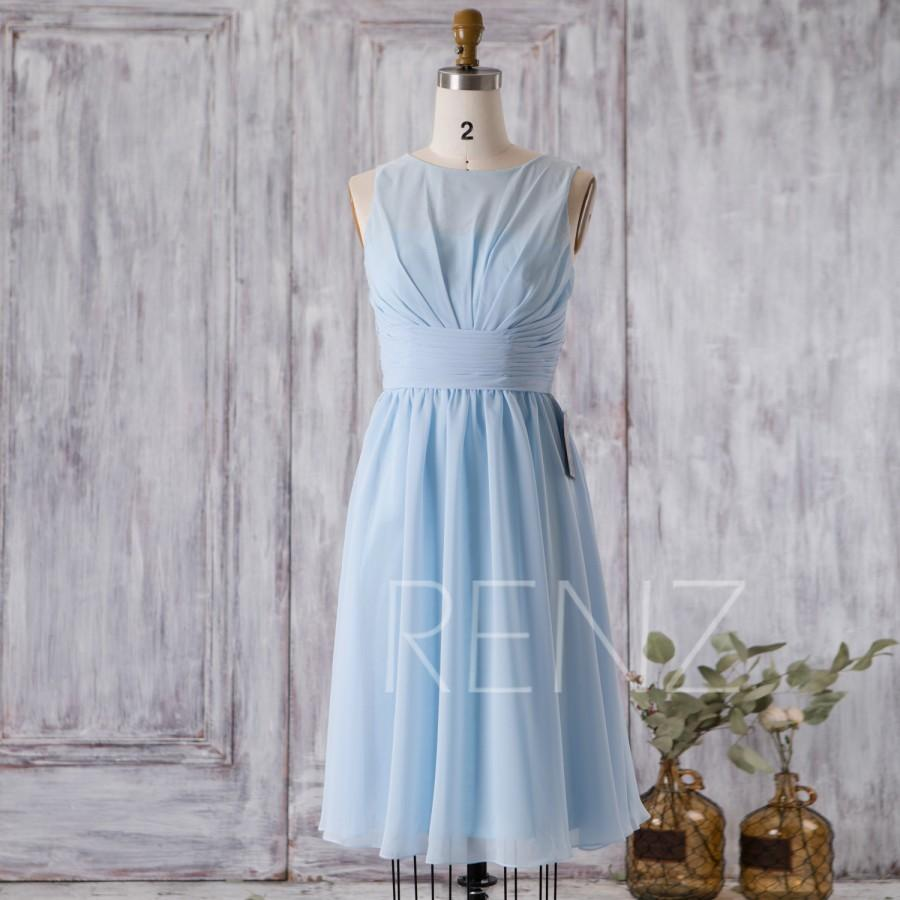 Wedding - 2016 Baby Blue Bridesmaid Dress, Short Wedding Dress, A line Pleated Dress, Cocktail Dress, Bateau Neck Illusion Knee Length (F003B)