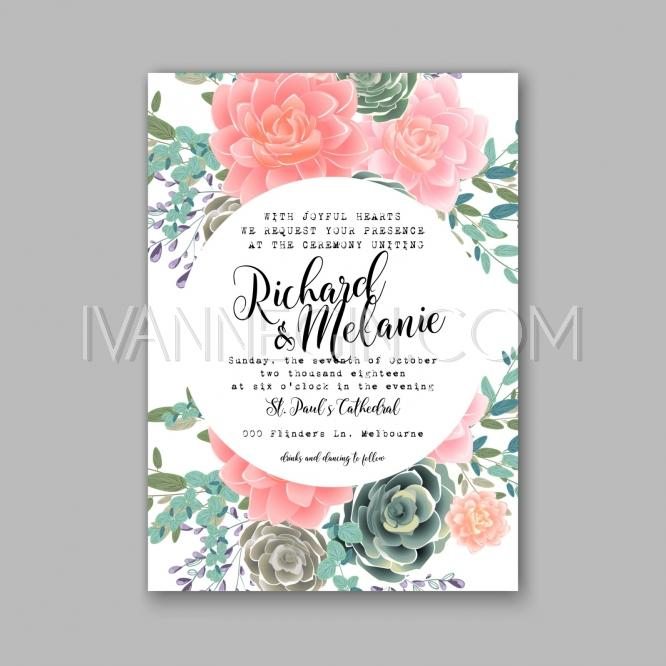 Wedding - Peony and succulents wedding invitation card - Unique vector illustrations, christmas cards, wedding invitations, images and photos by Ivan Negin