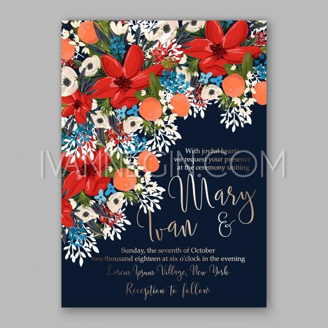 Poinsettia Winter Wedding Invitation Template Card Beautiful Floral