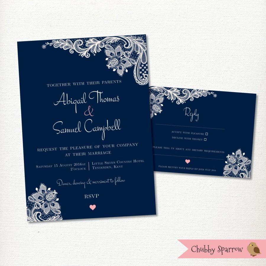 زفاف - Navy Blue Wedding Invitation, RSVP card set kit, Lace & linen, Engagement, Classic, Simple, Vintage, Rustic, Romantic - Printable Digital