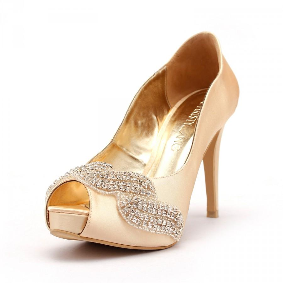 Covet Champagne Peep Toe Wedding Heel With Swarovski Elements And
