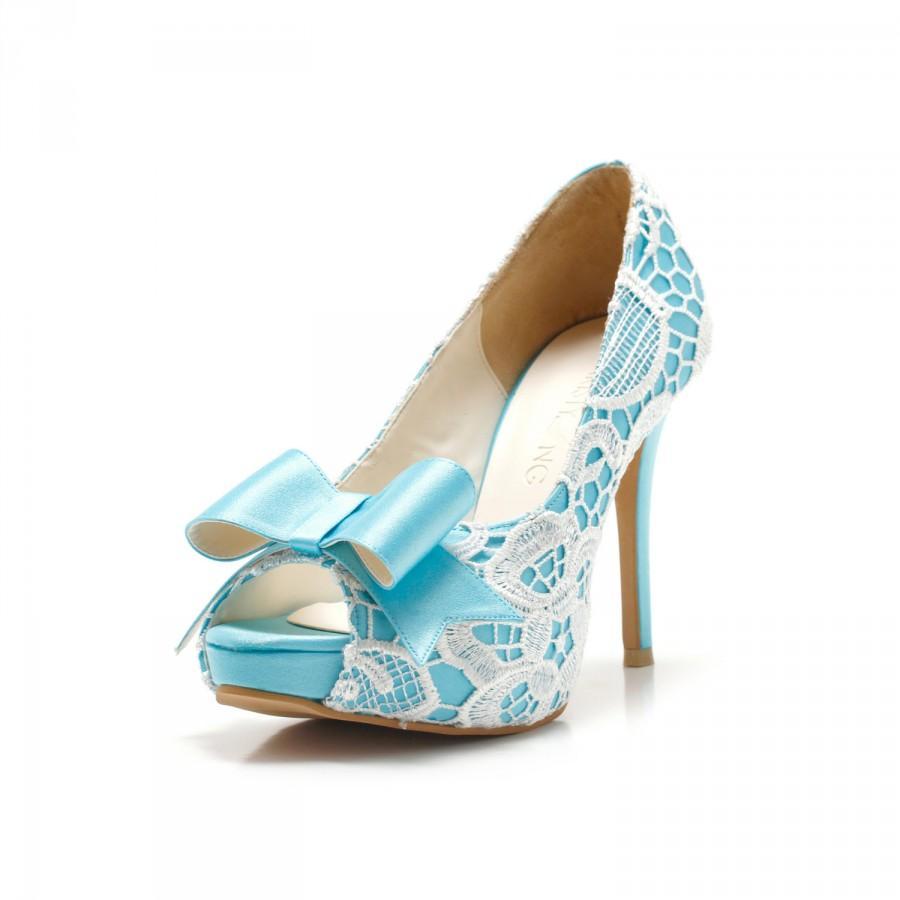 Свадьба - Custom Made Something Blue Wedding Shoes, Sky Blue Wedding Shoes, Something Blue, Bridal Shoes, Custom Made Blue Satin Heel
