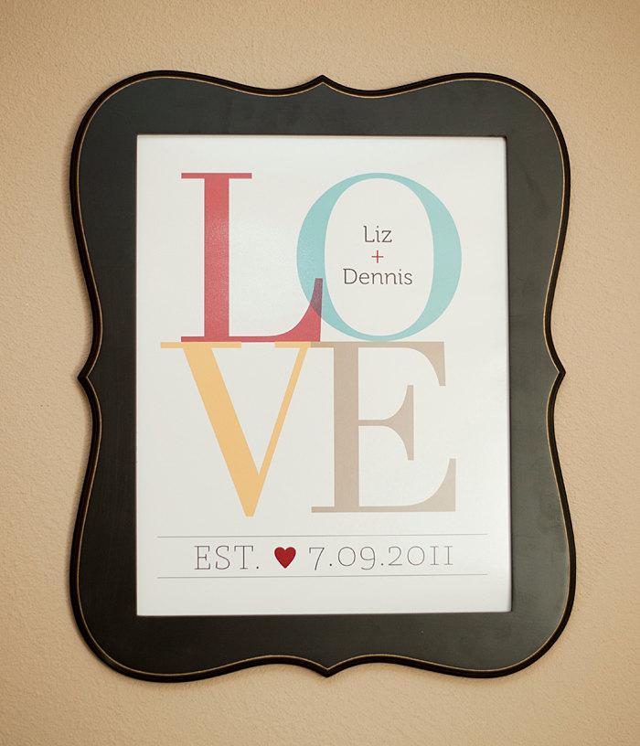 Свадьба - LOVE Personalized Couple Wall Print  8x10