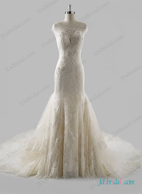 Mariage - Sexy sheer back lace mermaid wedding dress