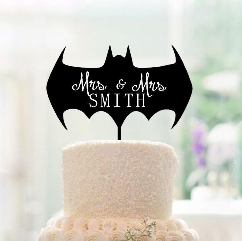 Wedding - Mrs and Mrs Batman Cake Topper,Funny Wedding Cake Topper,Mrs and Mrs Last Name Cake Topper,Batman Cake Topper,AcSame Sex Wedding Cake Topper