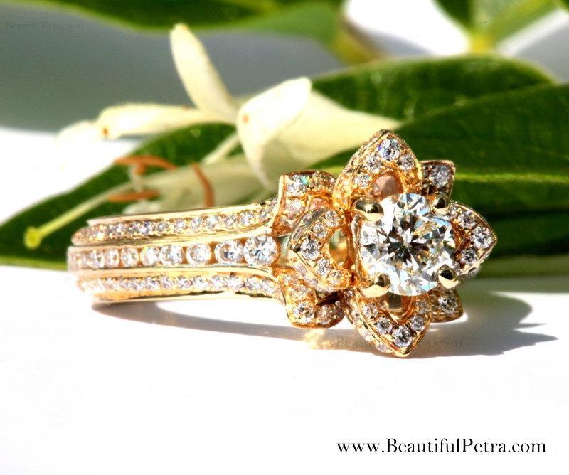 Mariage - UNIQUE Flower Rose Diamond Engagement or Right Hand Ring - 2.00carat - 14K yellow gold - 14k White gold - 14K rose gold - wedding - fL01YG